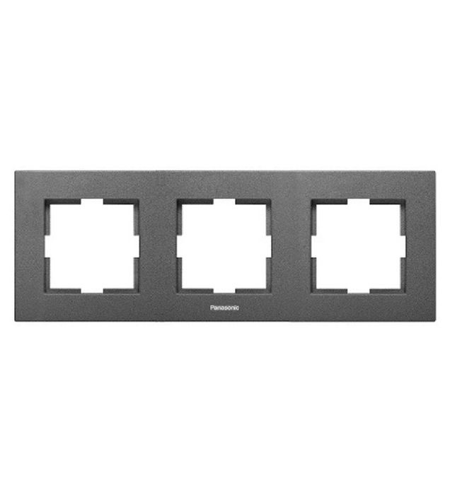 Рамка электроустановочная Panasonic 3-местная горизонтальная, темно-серый тв тюнер внешний bbk smp123hdt2 темно серый smp123hdt2 темно серый