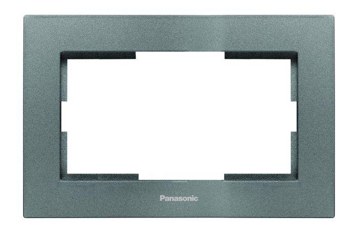 купить Рамка электроустановочная Panasonic для 2-й розетки, темно-серый по цене 203 рублей
