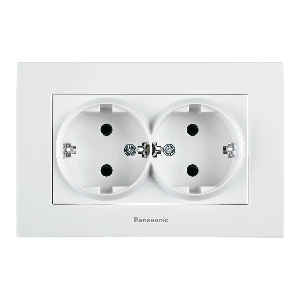 0792b39e5f3c1 Розетка Panasonic 2 гнезда с заземлением, белый — купить в интернет-магазине  OZON.ru с быстрой доставкой