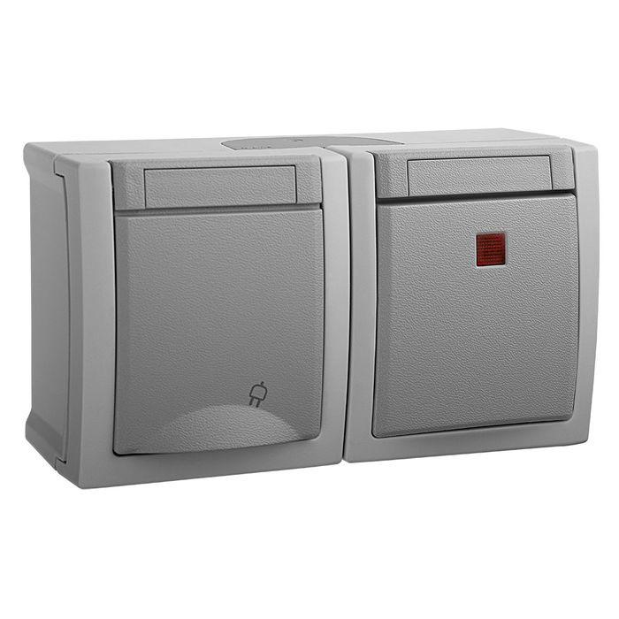 Розеточно-клавишный блок Panasonic горизонтальный IP54 PACIFIC, серый блок розеточно клавишный эра эксперт цвет серый 11 7401 03