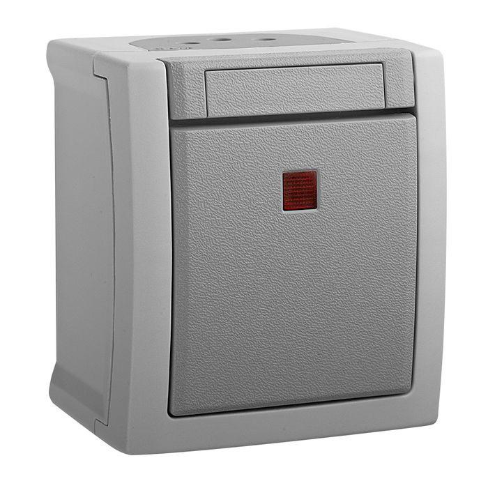 Выключатель Panasonic 1 клавишный с подсветкой IP54 PACIFIC, серый выключатель клавишный 250v 15а 6с on off on красный с подсветкой и нейтралью rexant