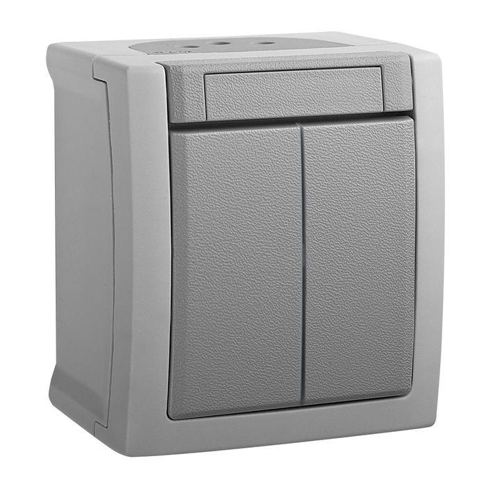Выключатель Panasonic 2 клавишный IP54 PACIFIC, серый
