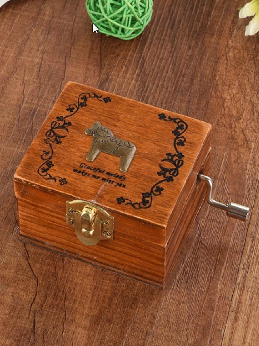 Шкатулка Правила Успеха Лошадка музыкальная деревянная шарманка, темно-коричневый lamaze музыкальная игра лев логан звук мелодия lamaze