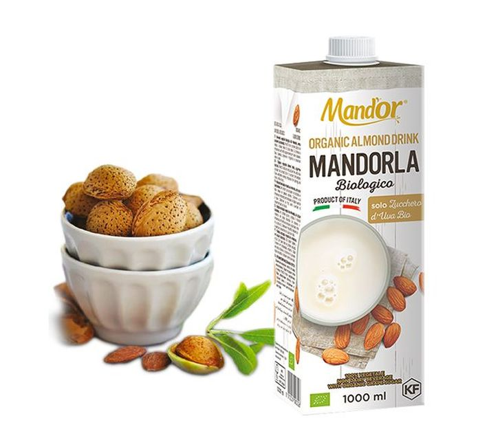 Растительное молоко Mand'or Миндальное молоко, органика, Италия, без сахара, с высоким содержанием миндаля 5,5%, 1Л Тетра Пак, 1000