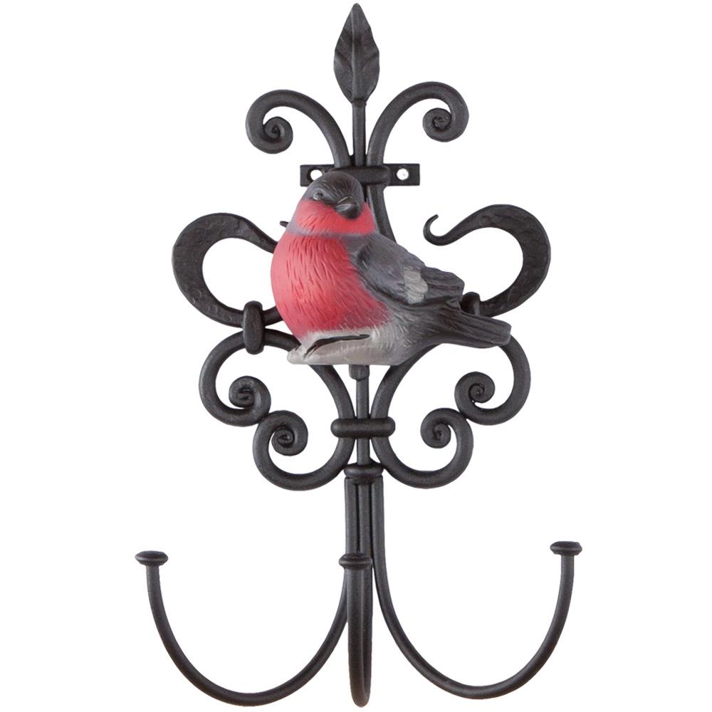 Вешалка настенная aim Крючок настенный Снегирь (с 3-мя крючками), черный, красный, серый