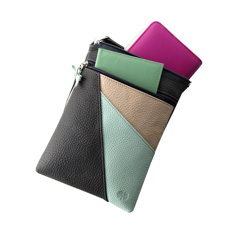 Сумка на плечо qoper Наплечная сумка bag, голубой, светло-розовый, серый