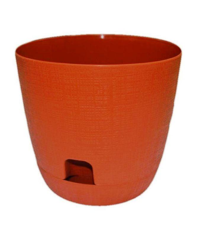 Горшок для цветов с поддоном Le Twist (Ле Твист) диаметр 19 см, объем 3,3 литра, терракот, дренаж, кашпо, боковая система полива, ТЕК.А.ТЕК горшок le jardin d 25 5 5л терракот