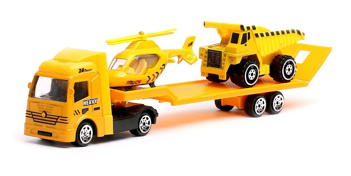 Машинка Автоград Строительный автовоз, масштаб 1:64, 25566052556605Пополните коллекцию машин мальчишки современным автовозом. Эта модель выполнена из металла и оснащена резиновыми покрышками для скоростной езды. Мальчишке понравится ее оригинальный дизайн.