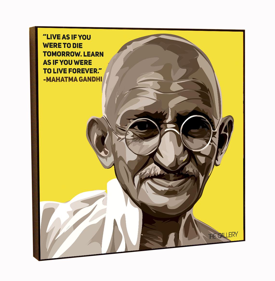 цена Постер The Gallery Картина Махатма Ганди в стиле поп-арт 25 х 25 см, принт + МДФ, Оргалит онлайн в 2017 году