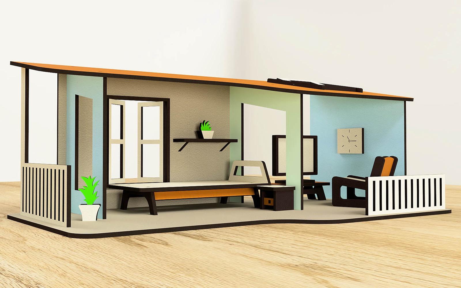 M-Wood Деревянный одноэтажный кукольный домик . С мебелью цена