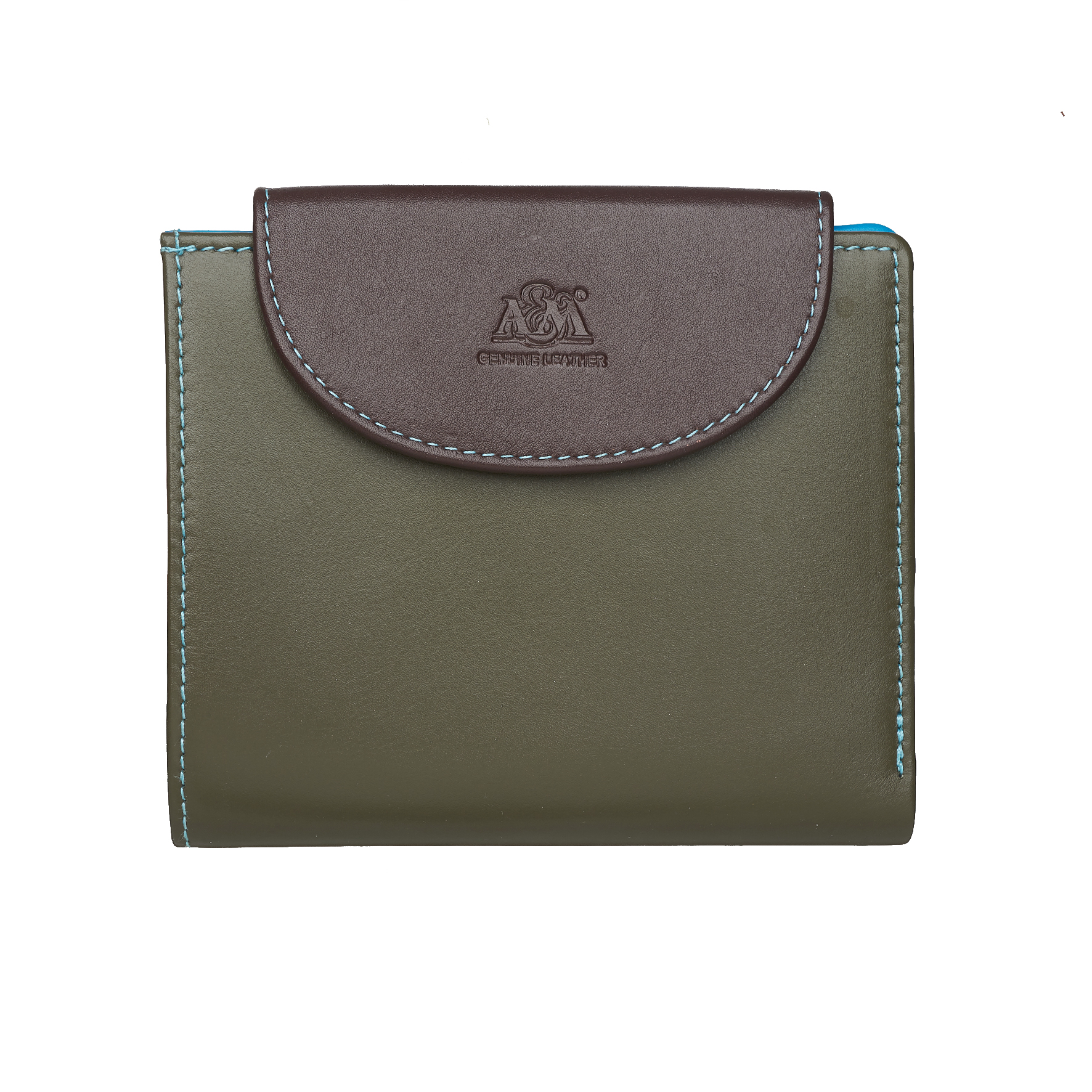 Портмоне A&M женское, 2702multi, оранжевый, голубой, коричневый, зеленый, оранжевый