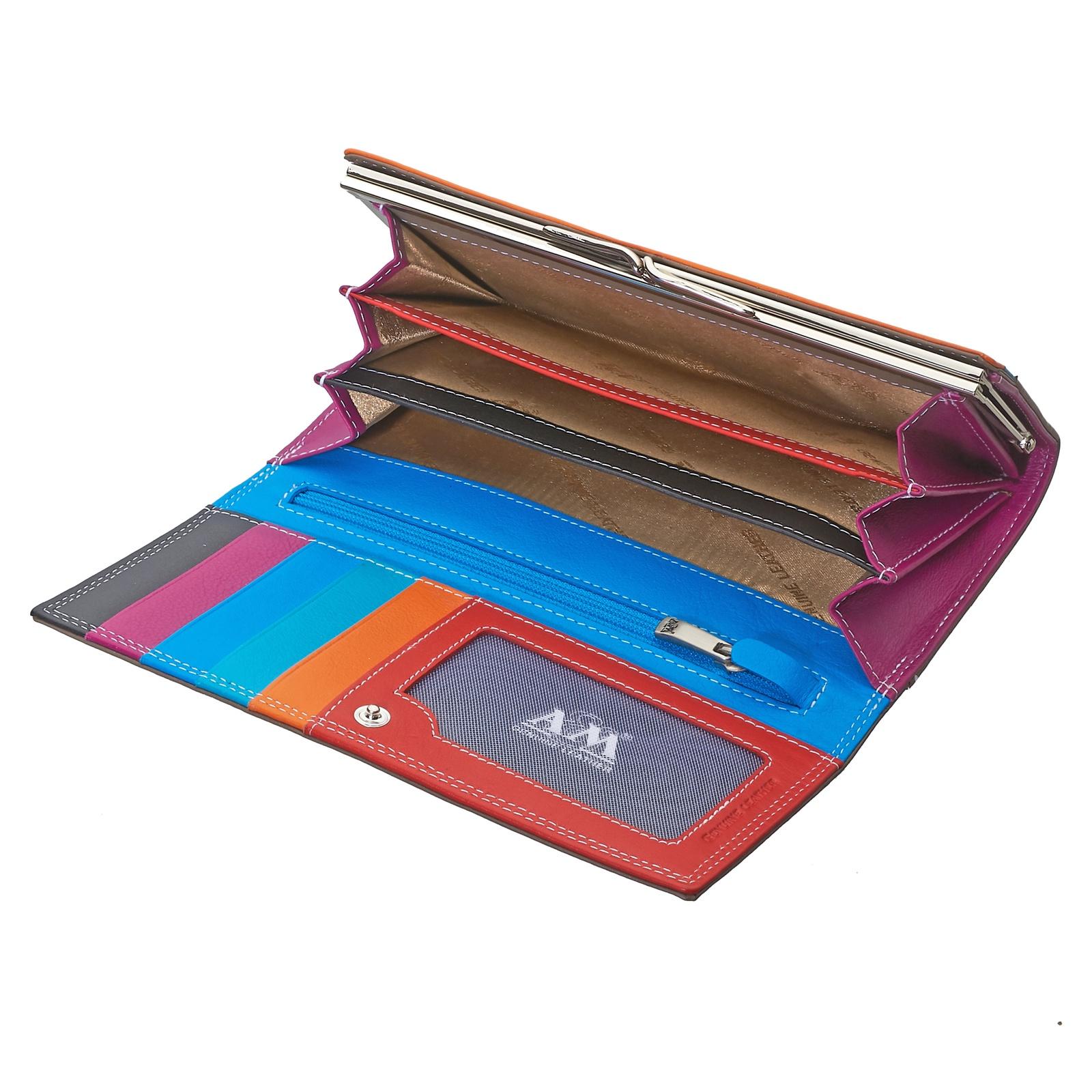 Портмоне A&M женское, 2701multi, красный, оранжевый, голубой, бежевый, красный, оранжевый