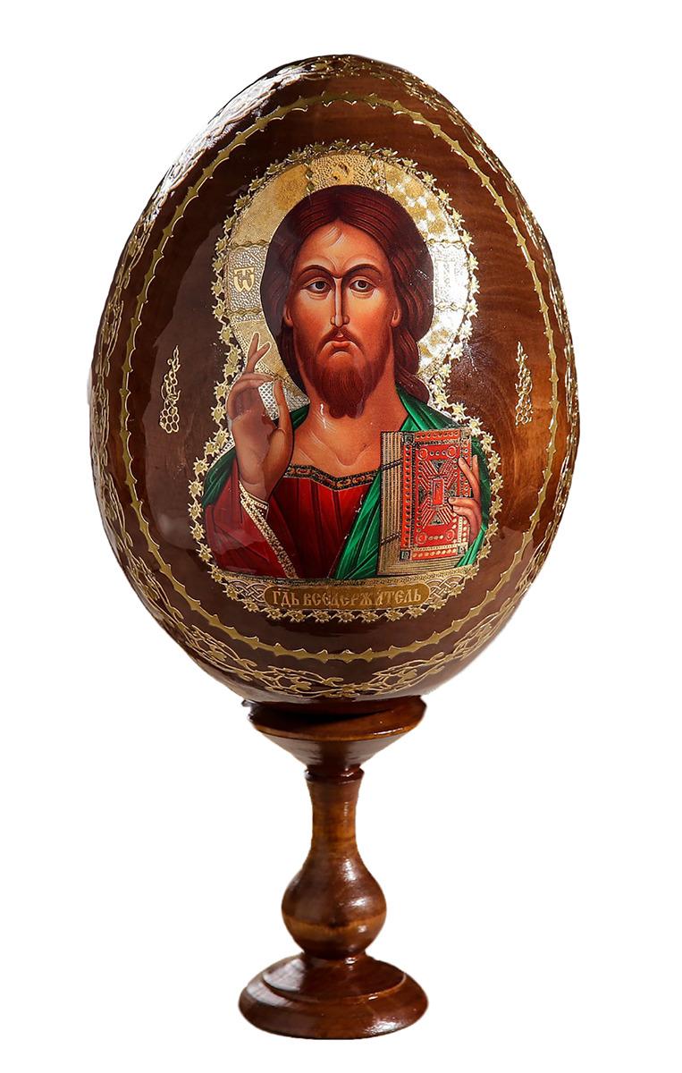 Яйцо сувенирное Господь Вседержитель, на подставке, 167844 икона 3 радости