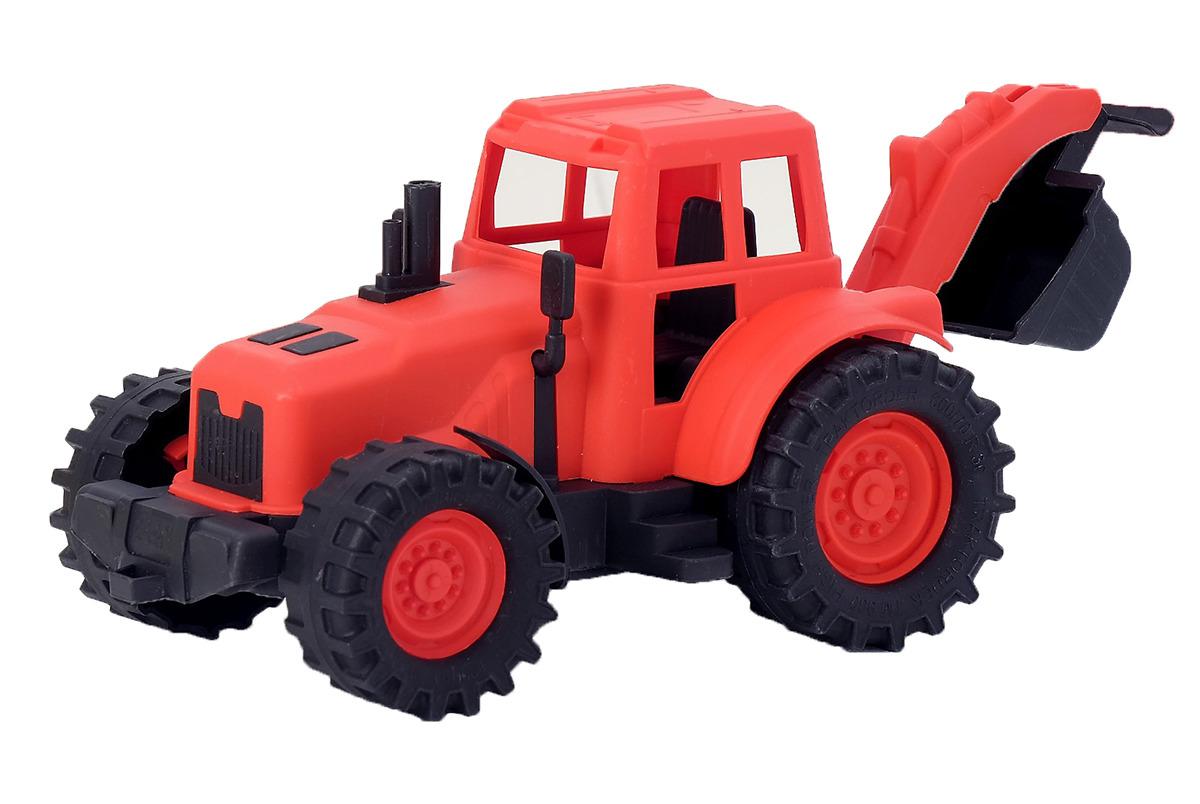 Машинка Трактор, с задним ковшом, 3948018, красный, черный, 22 см3948018Яркий трактор с первых секунд привлечет внимание малыша, поможет развить воображение, координацию, цветовое восприятие, тактильные ощущения и мелкую моторику рук