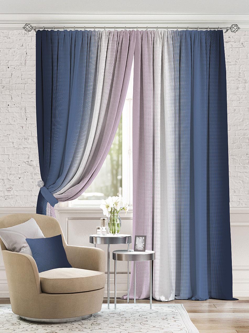 Комплект штор Томдом Берни, белый, синий аксессуар для штор томдом подхват коса темно малиновый
