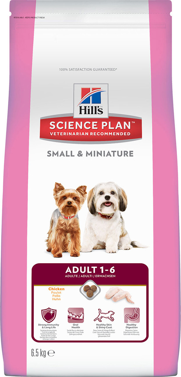 Корм сухой Hills Science Plan Small & Miniature для собак мелких и миниатюрных пород от 1 до 6 лет, с курицей, 6,5 кг2823Science Plan Canine Adult Small & Miniature - точно сбалансированное питание для поддержания сильного иммунитета и обеспечения долголетия собакам мелких и миниатюрных пород. Ключевые преимущества: - Разработан для поддержания здоровья полости рта, здоровой кожи и здорового пищеварения - Содержит натуральные ингредиенты и высокие уровни антиоксидантов с клинически подтвержденным эффектом, витамины и минералы - Премиальное питание для здоровой кожи и мягкой, сияющей шерсти - Точно сбалансированное, легкоусваиваемое питание для собак мелких и миниатюрных пород Без искусственных ароматизаторов, красителей и консервантов. Назначение: - Собакам от 1 года до 6 лет мелких и миниатюрных пород, умеренно активным Рекомендации по кормлению: Указанные значения являются ориентировочными, поскольку пищевые потребности животных различаются. Норму кормления необходимо скорректировать, чтобы поддерживать оптимальный вес. Перевод на данный рацион: Пробуете этот рацион впервые? Постепенно в течение 7 дней переводите животное на новый рацион, увеличивая его содержание по отношению к прежнему. Обеспечьте питомца свободным доступом к свежей воде. Не рекомендуется: - Кошкам - Щенкам - Беременным и лактирующим сукам. В течение беременности и лактации суку необходимо перевести на рацион для щенков Science Plan Puppy Small & Miniature. Содержание мяса: курица 33%; общее содержание мяса птицы 50% Состав на упаковке: Мука из курицы и индейки, кукуруза, пшеница, размолотый рис, животный жир, гидролизат бе... Рекомендуем!