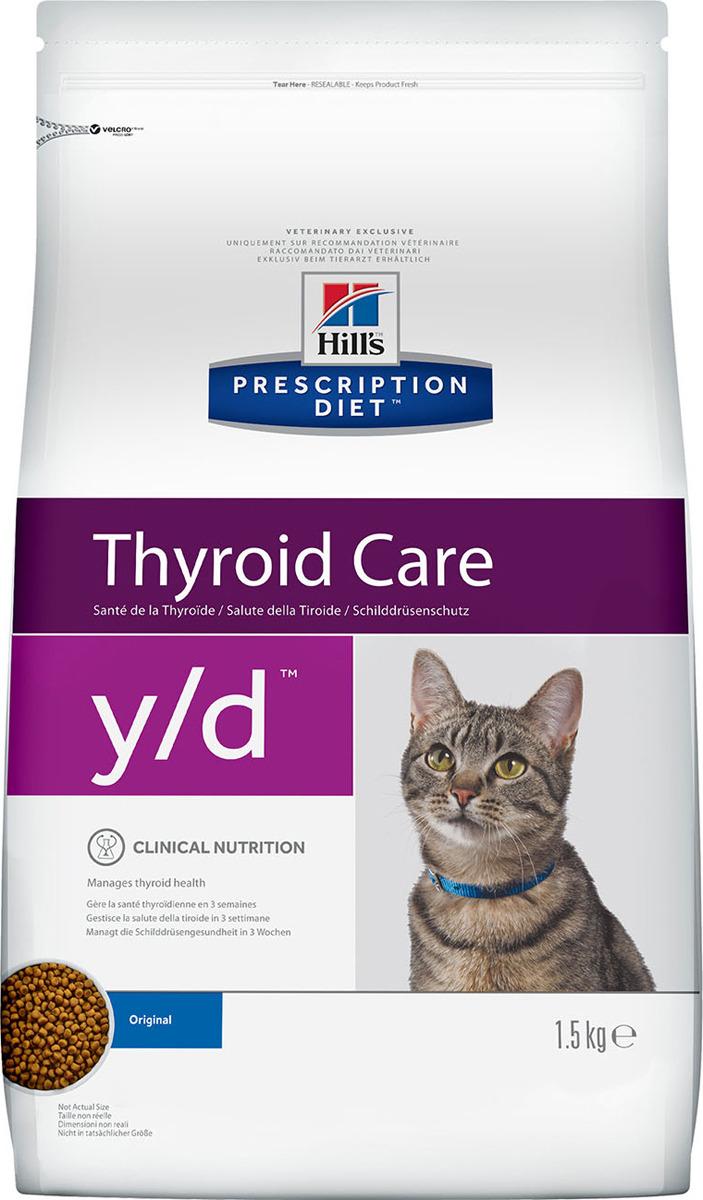 Корм сухой Hill's Prescription Diet y/d Thyroid Care для кошек для поддержания здоровья щитовидной железы, 1,5 кг