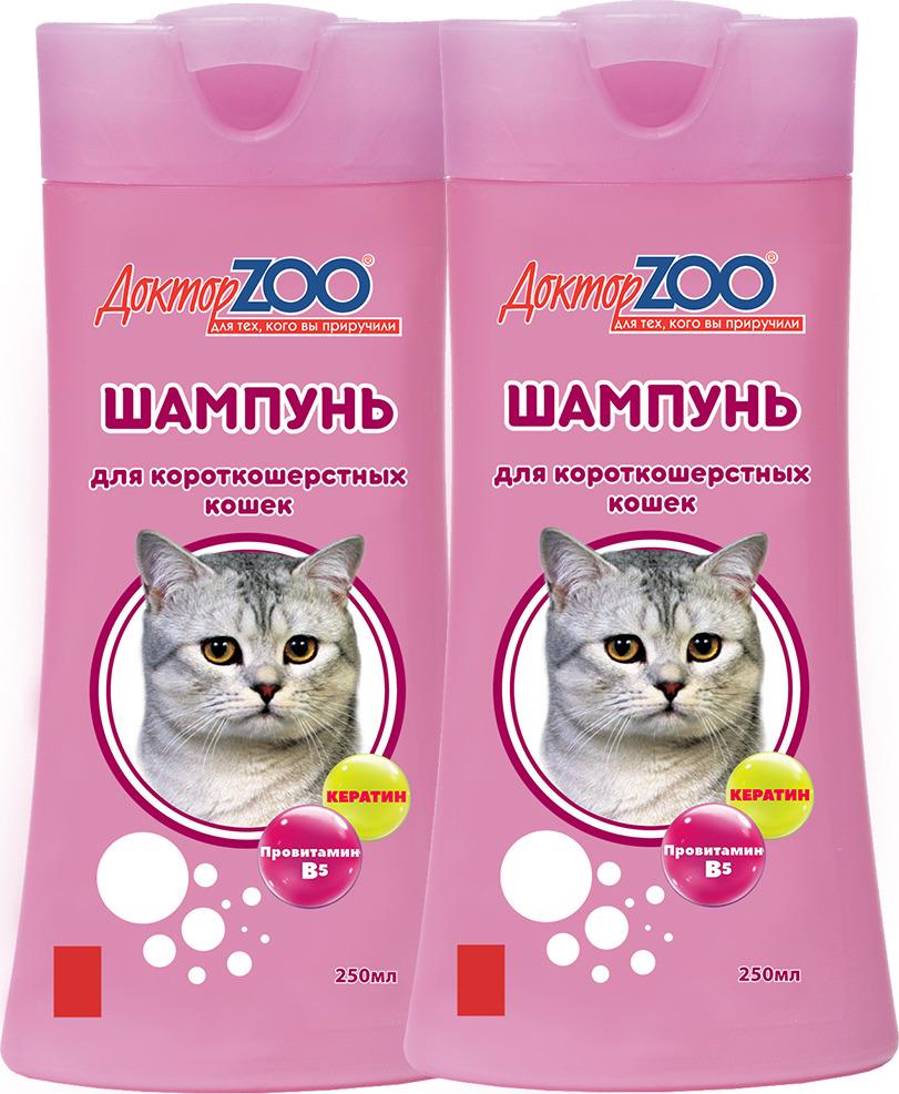 Шампунь Доктор ZOO, для короткошерстных кошек, ZR0630-2, 250 мл, 2 шт