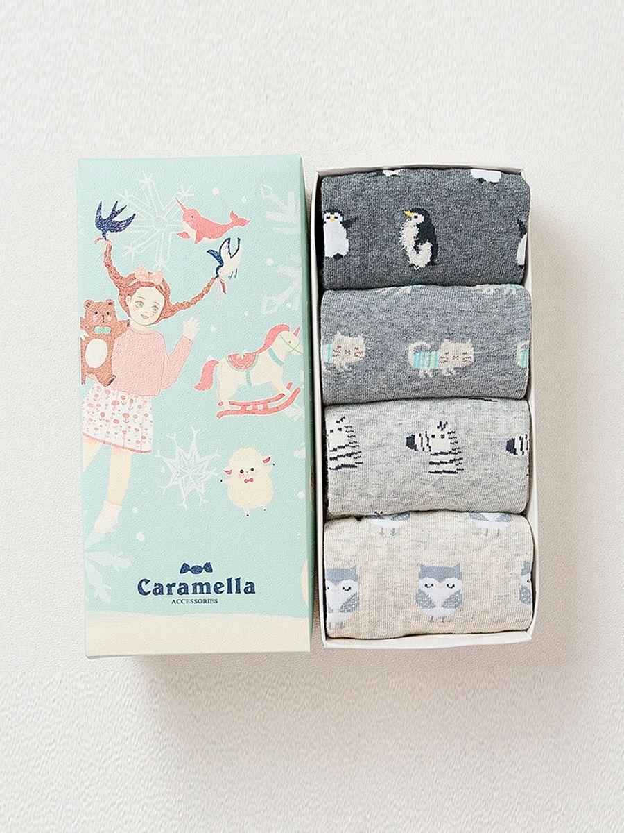 Носки Caramella носки детские caramella котик цвет светло розовый белый 4 пары 562144 размер 14 16