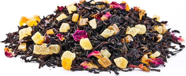 Чай листовой Gutenberg Манго-Маракуйя, черный, 500 г84009Смесь чёрных крупнолистовых чаев с кусочками папайи, ананаса и манго, лепестками индийской розы, и нежным фруктово- карамельным ароматом.