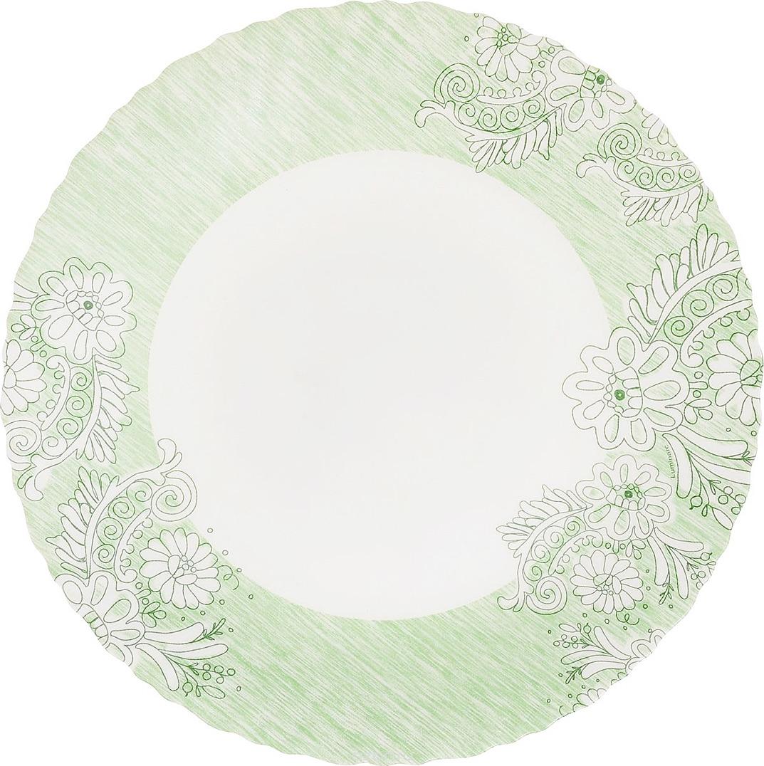 Тарелка Luminarc Минелли, J7031, белый, зеленый, диаметр 25 см