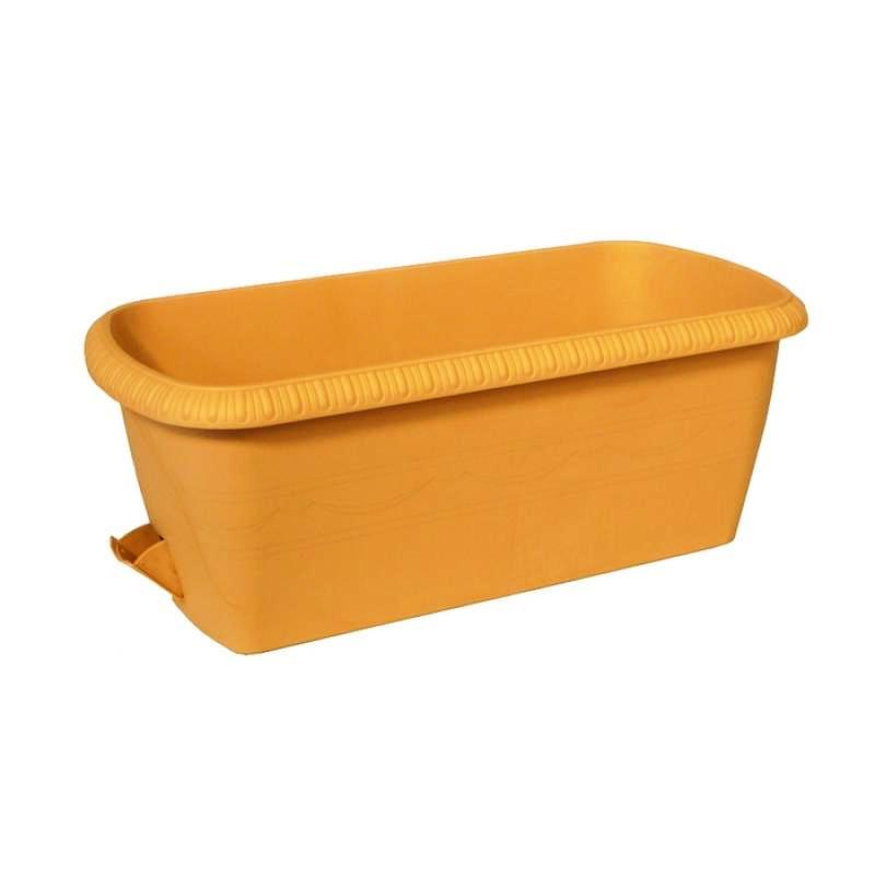 цена на Горшок для цветов балконный ящик с поддоном дренаж кашпо боковая система полива декор уличный