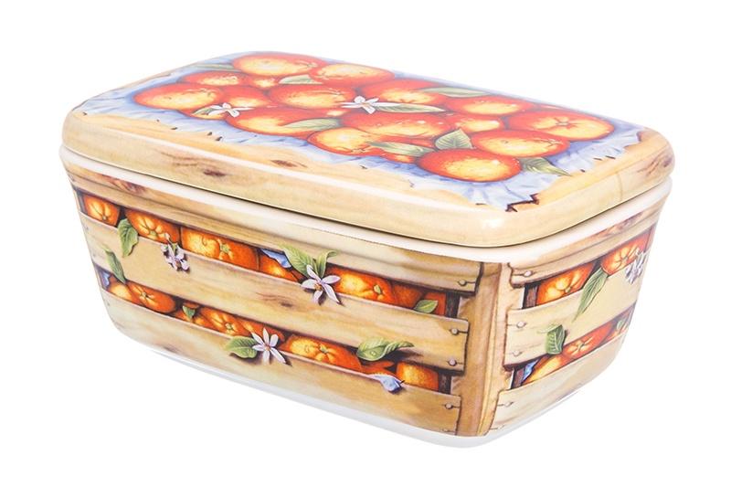 Банка для печенья конфет 18х11,5х8,5 см 800 мл Elan Gallery Апельсины и крышка