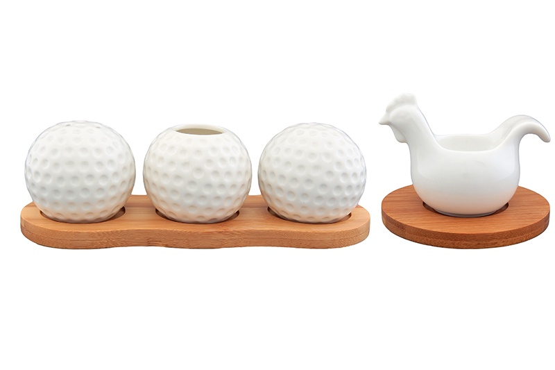 Вазочка под зубочистки, набор для специй 3 предмета 19х6х6 см Elan Gallery Айсберг на деревянной подставке, под яйцо