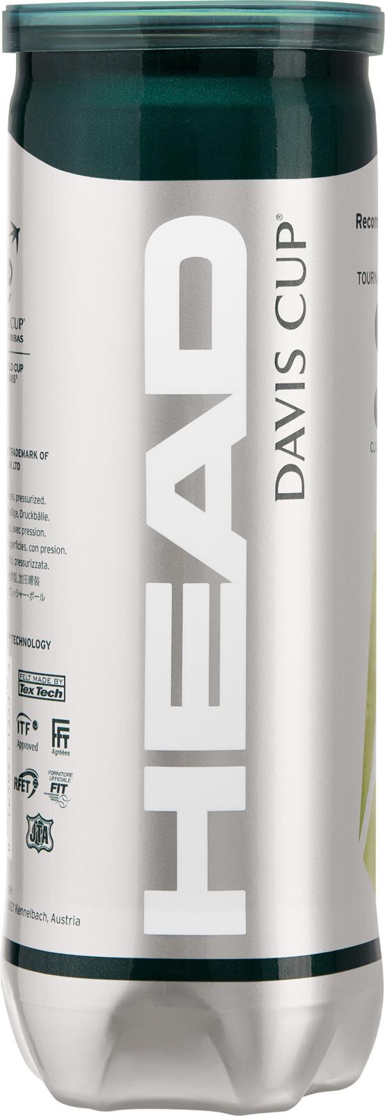 Мяч теннисный Head Davis Cup, 3 шт571353Премиальный мяч для проведения профессиональных турниров. HEAD DAVIS CUP обладает отличными игровыми характеристиками, а технология Encore обеспечивает высокий уровень износостойкости. Мяч подойдёт для любых типов покрытий.