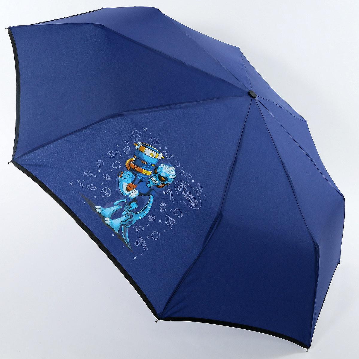 Зонт ArtRain арт.3517-1738, синий зонт artrain механический 3 сложения цвет синий 3517 1732