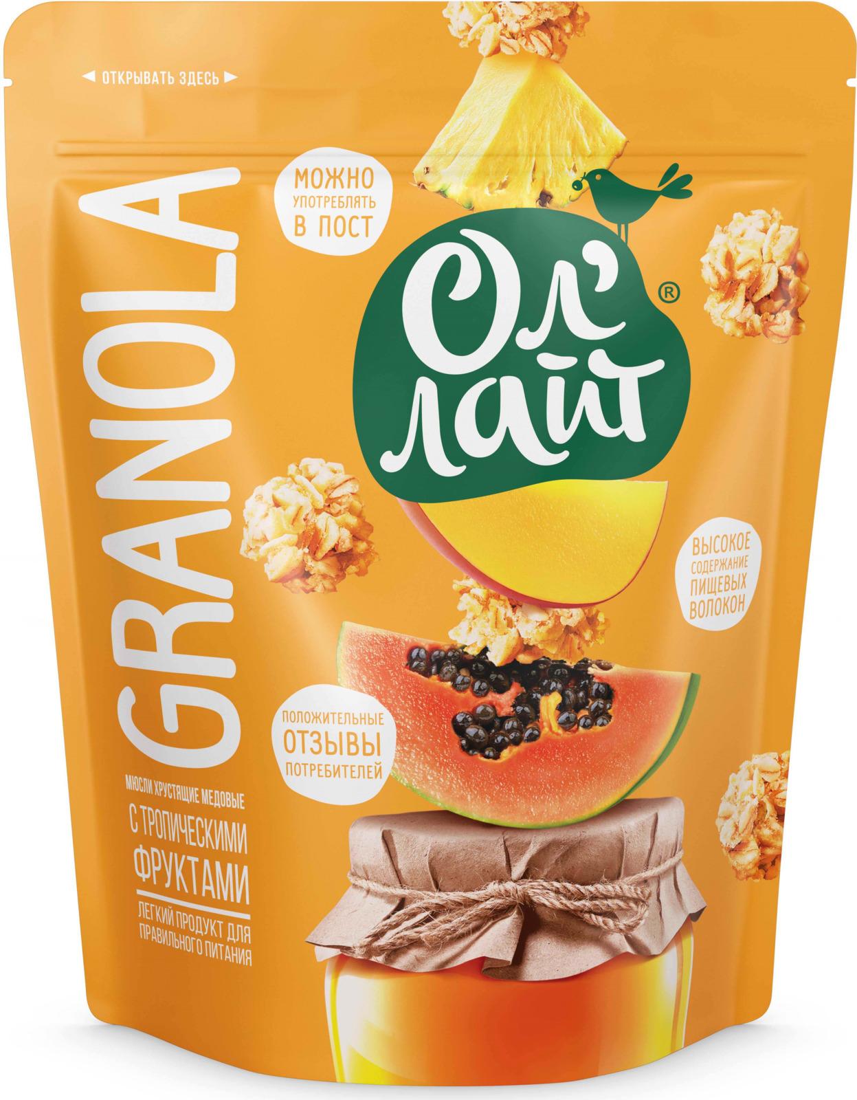 Мюсли хрустящие Ол Лайт Granola, медовые, с тропическими фруктами, 280 г