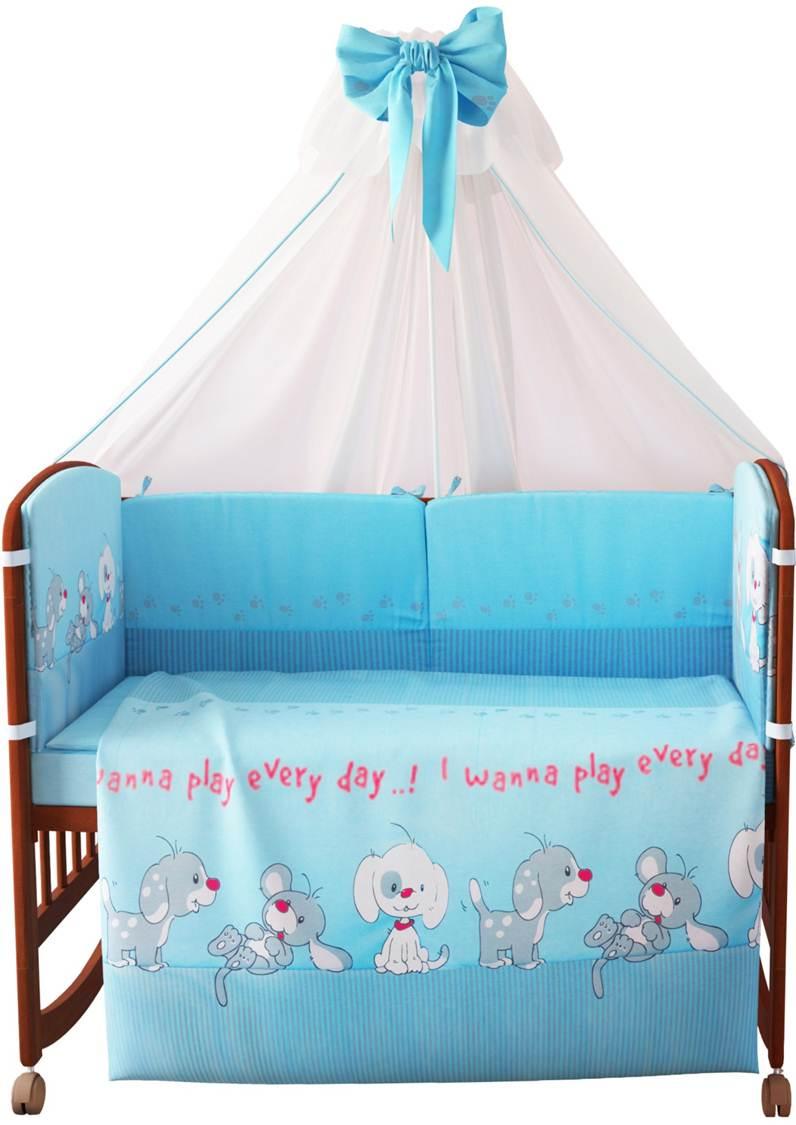 Комплект в кроватку Фея 0001015-1, голубой