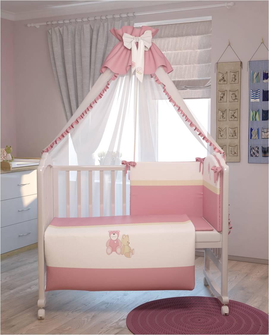 Комплект в кроватку Polini 0001200-2, розовый комплект в кроватку polini 0001201 1 голубой