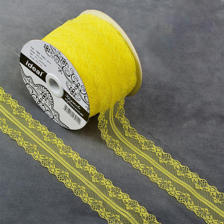 Фото - Тесьма IDEAL кружевная, желтый, 4 см, 45,7 м тесьма ideal кружевная персиковый 4 см 45 7 м