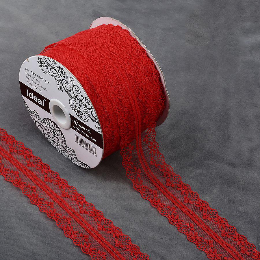 Фото - Тесьма IDEAL кружевная, красный, 4 см, 45,7 м тесьма ideal кружевная персиковый 4 см 45 7 м