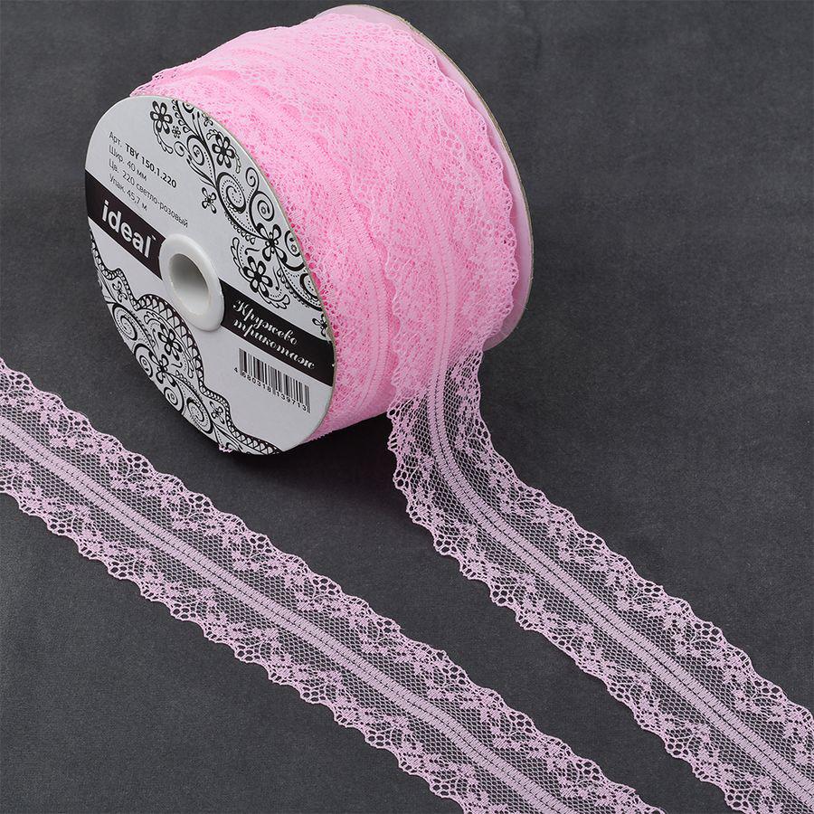 Фото - Тесьма IDEAL кружевная, светло-розовый, 4 см, 45,7 м тесьма ideal кружевная персиковый 4 см 45 7 м