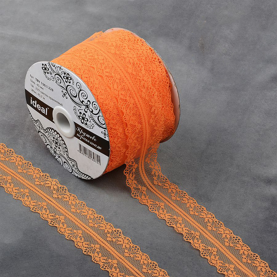 Фото - Тесьма IDEAL кружевная, светло-оранжевый, 4 см, 45,7 м тесьма ideal кружевная персиковый 4 см 45 7 м