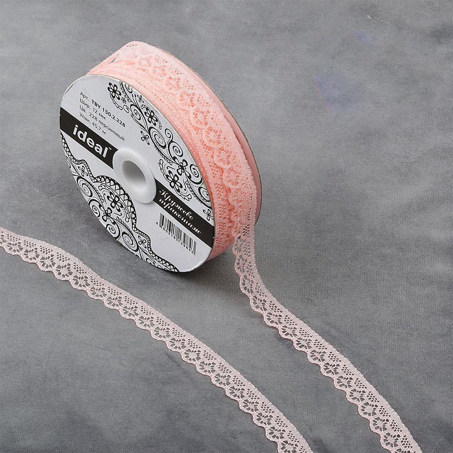 Фото - Тесьма IDEAL кружевная, персиковый, 1,2 см, 45,7 м тесьма ideal кружевная персиковый 4 см 45 7 м