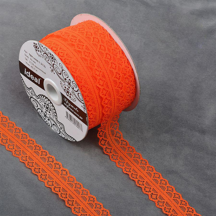Фото - Тесьма IDEAL кружевная, оранжевый, 3 см, 45,7 м тесьма ideal кружевная персиковый 4 см 45 7 м