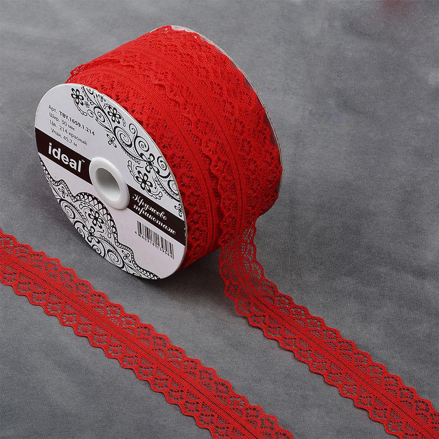 Фото - Тесьма IDEAL кружевная, красный, 3 см, 45,7 м тесьма ideal кружевная персиковый 4 см 45 7 м