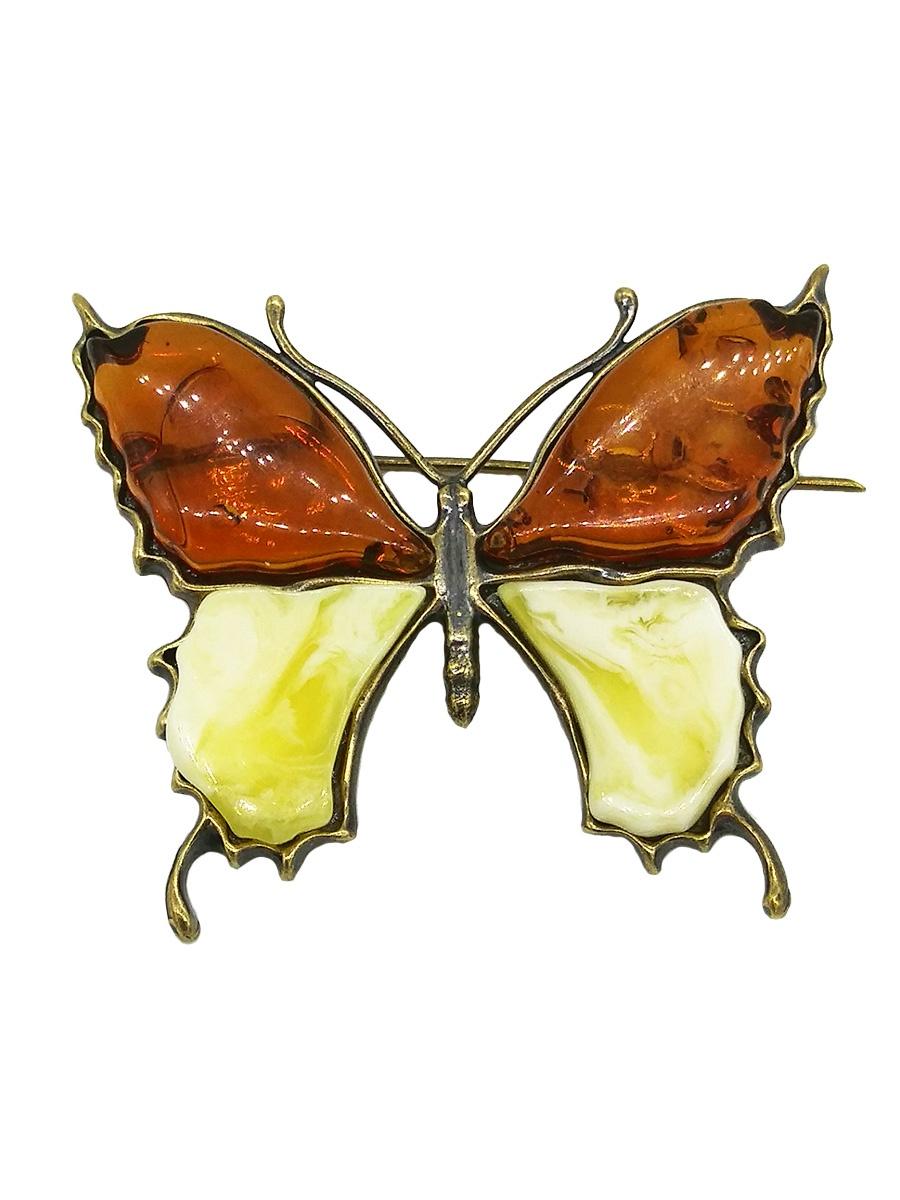 Брошь бижутерная ForMyGirl.ru ИМ174 женское украшение, Бронза, Янтарь, 5 см украшение на ножке village people летающие бабочки цвет оранжевый высота 31 5 см 66964 4