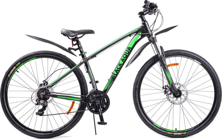 Велосипед Black Aqua Cross 2981 D Matt, черный, зеленый, колесо 29, рама 21