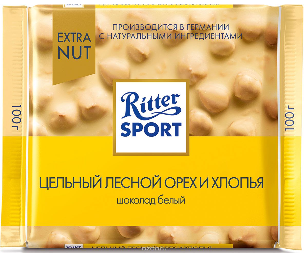 Шоколад Ritter Sport белый с цельным обжаренным орехом лещины и хлопьями, 100г, 100 ritter sport лесной орех шоколад молочный с обжаренным орехом лещины 100 г