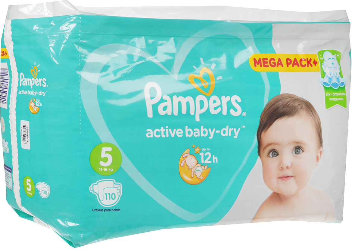 Pampers Подгузники Active Baby-Dry 11-16 кг (размер 5) 110 шт