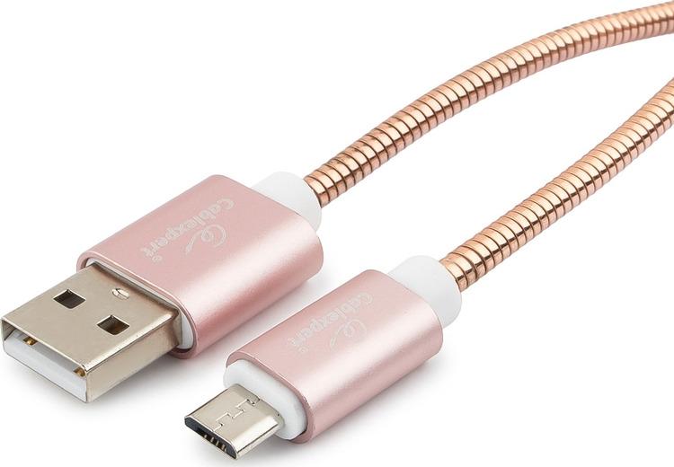Кабель Cablexpert Gold, USB 2.0, AM/microB, 1 м, CC-G-mUSB02Cu-1M, золотой epik магнитный кабель и адаптер earldom для комфортного подключения и зарядки iphone 1m розовый rose gold