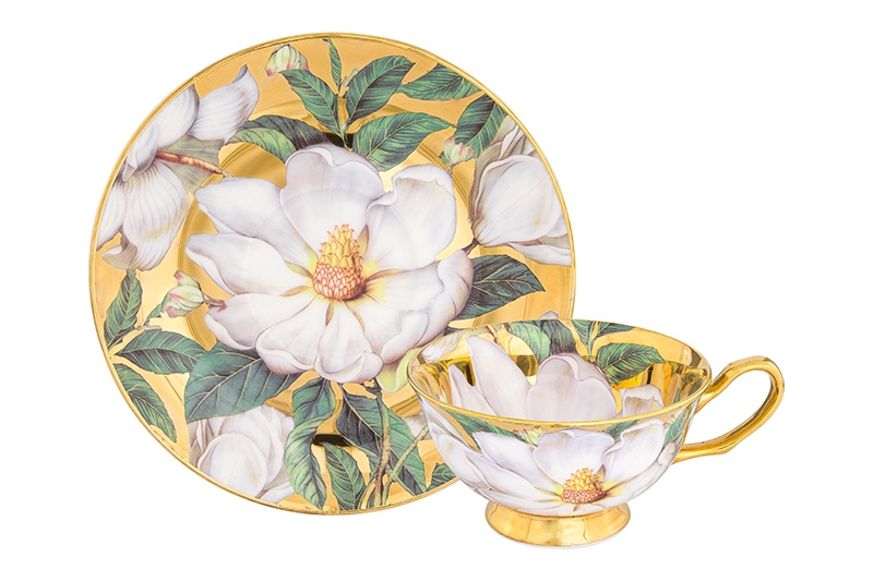 Чайная пара 2 предмета 220 мл Elan Gallery Белый шиповник на золоте чашка на ножке