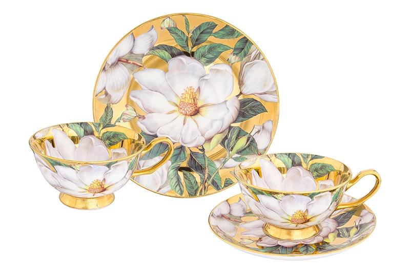 Чайная пара 4 предмета 220 мл Elan Gallery Белый шиповник на золоте чашка на ножке