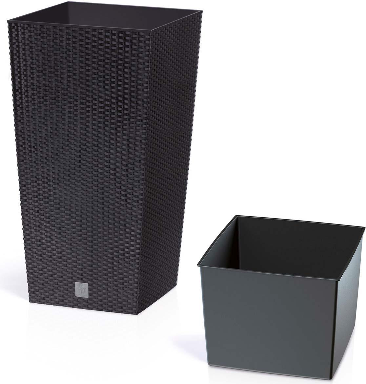 Кашпо Prosperplast Rato Square, DRTS325-S433, антрацит, 32,5 х 32,5 х 61 см кашпо prosperplast rato square drts325 440u wenge