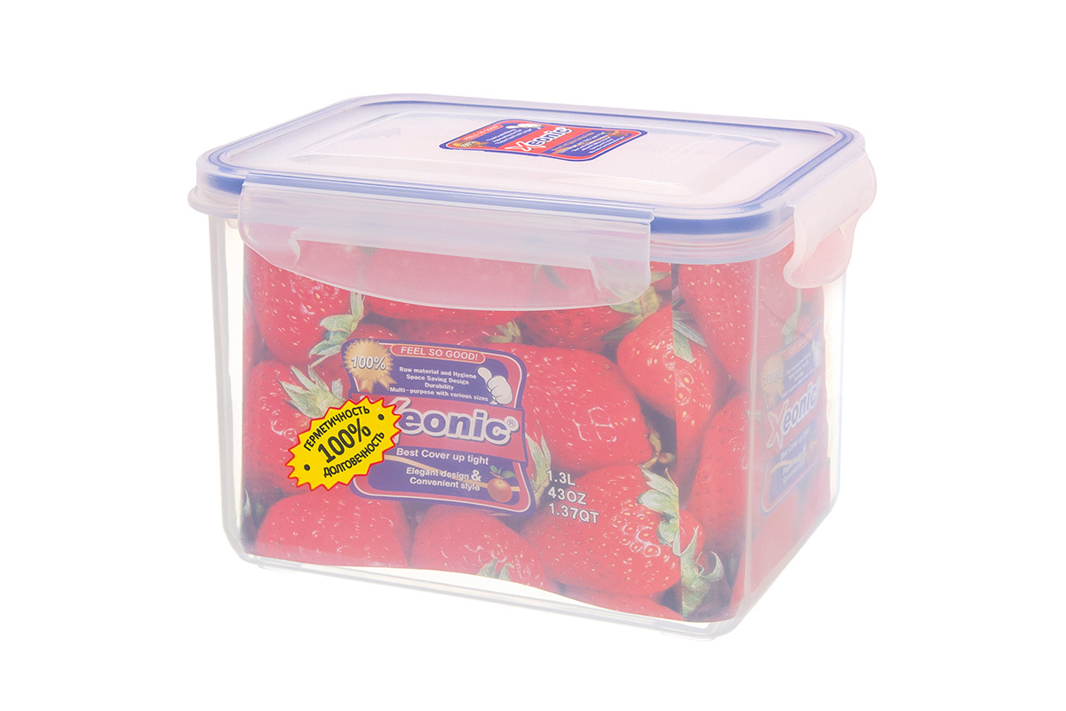 Контейнер Xeonic, цвет: прозрачный, синий, 1,3 л available from 10 11 container food rectangular xeonic 530 ml xeonic 810029