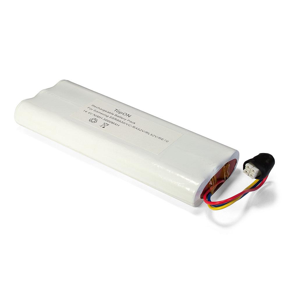 Аккумулятор для пылесоса TopON Samsung Tango VC-RA50VB, VC-RA52V, VC-RA84V, VC-RE70V, SSR8930. 14.4V 3000mAh Ni-MH. PN: SAM14.49B, CS-SMR840V. аккумулятор для пылесоса topon mamirobot k3 k5 k7 sevain kf3 kf5 kf7 416 461 14 4v 3000mah ni mh pn gd mami 14 4 rc nmmak7